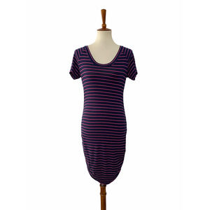 Amour Vert Striped Ruched Bodycon Dress Medium